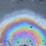 Photograph of heating oil pollution on water