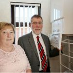 Photograph of Nelson McCausland MLA with Mrs. McIlwrath, Carrickfergus