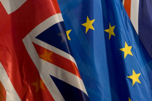 Photograph of Union Flag alongside EUSSR Flag