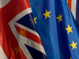 Photograph of UK and EU Flags